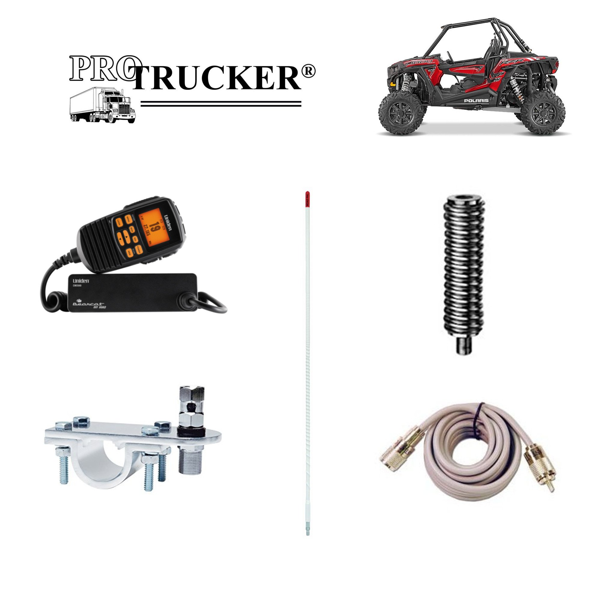 Pro Trucker Off-Road ATV, Tractor, UTV, RZR, And Jeep Kit With Uniden Handheld CB Radio, 4' White Antenna, Antenna Mount & Stud, Spring, and Coaxial Cable - Includes Everything by Pro Trucker (Image #1)