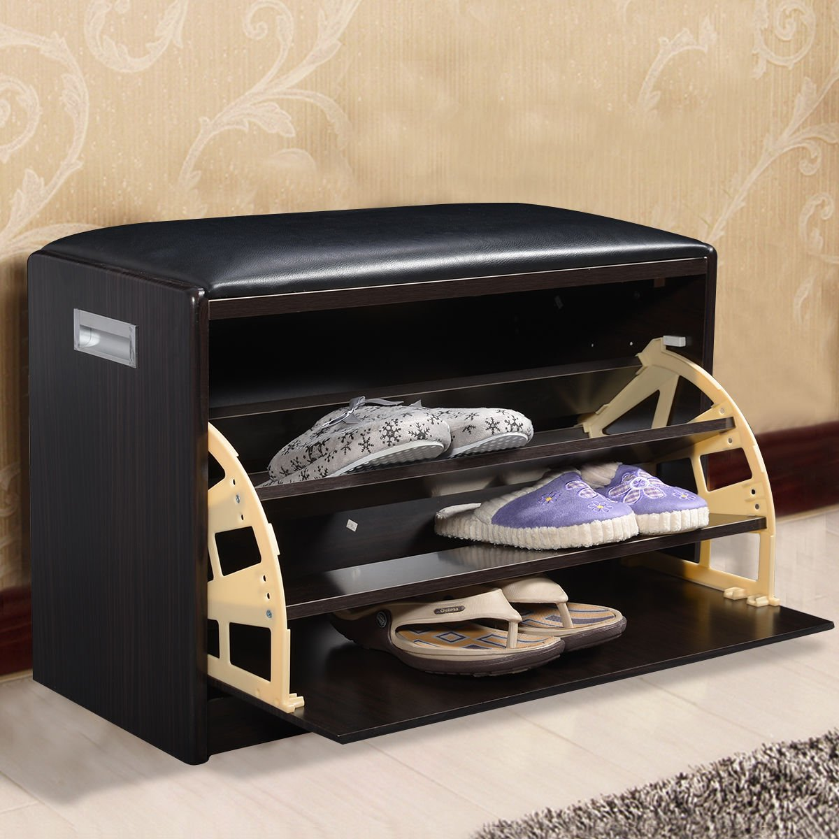 "Amazon.com: Multipurpose Wooden Shoe Ottoman 3 Shelf Cabinet Closet Bench  with Sponge Cushioned Seat - 25""×11.8""×17"": Kitchen & Dining - Amazon.com: Multipurpose Wooden Shoe Ottoman 3 Shelf Cabinet"