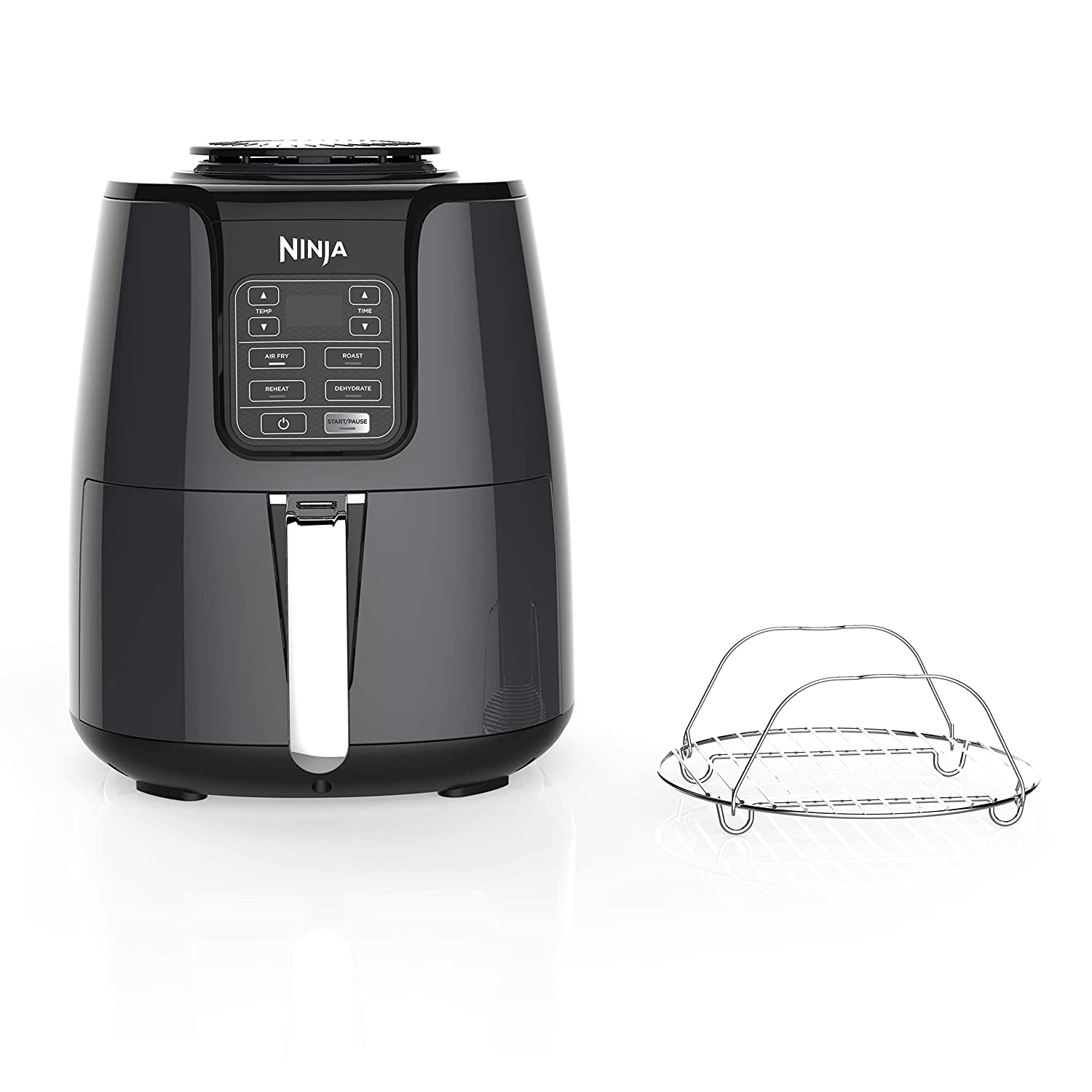 Ninja Air Fryer, 1550-Watt Programmable Base for Air Frying, Roasting, Reheating Dehydrating with 4-Quart Ceramic Coated Basket AF101 , Black Gray