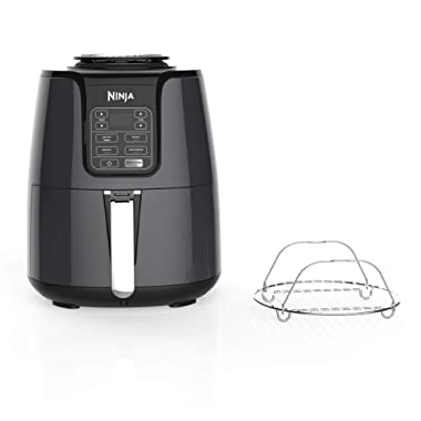 Ninja Air Fryer, 1550-Watt Programmable Base for Air Frying, Roasting, Reheating & Dehydrating with 4-Quart Ceramic Coated Basket (AF101), Black/Gray