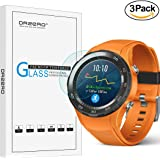 [3 Pack] Orzero For Huawei Watch 2 / Watch 2 Sport / Watch 2 Classic( Not fit for 1st version ) Tempered Glass Screen Protector, 2.5D Arc Edges 9 Hardness Anti-Scratch[Lifetime Replacement Warranty]