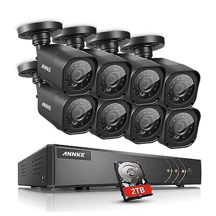 annke 16 Canales 1080P Lite CCTV Grabador de vigilancia con 8 Verdaderos 720P HD Impermeables,