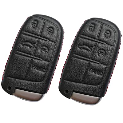 Coolbestda 2Pcs Leather Smart Key Fob Remote Skin Cover Case Jacket Keyless Entry Accessories for Jeep Grand Cherokee Dodge Challenger Charger Dart Durango Journey Chrysler 300: Automotive
