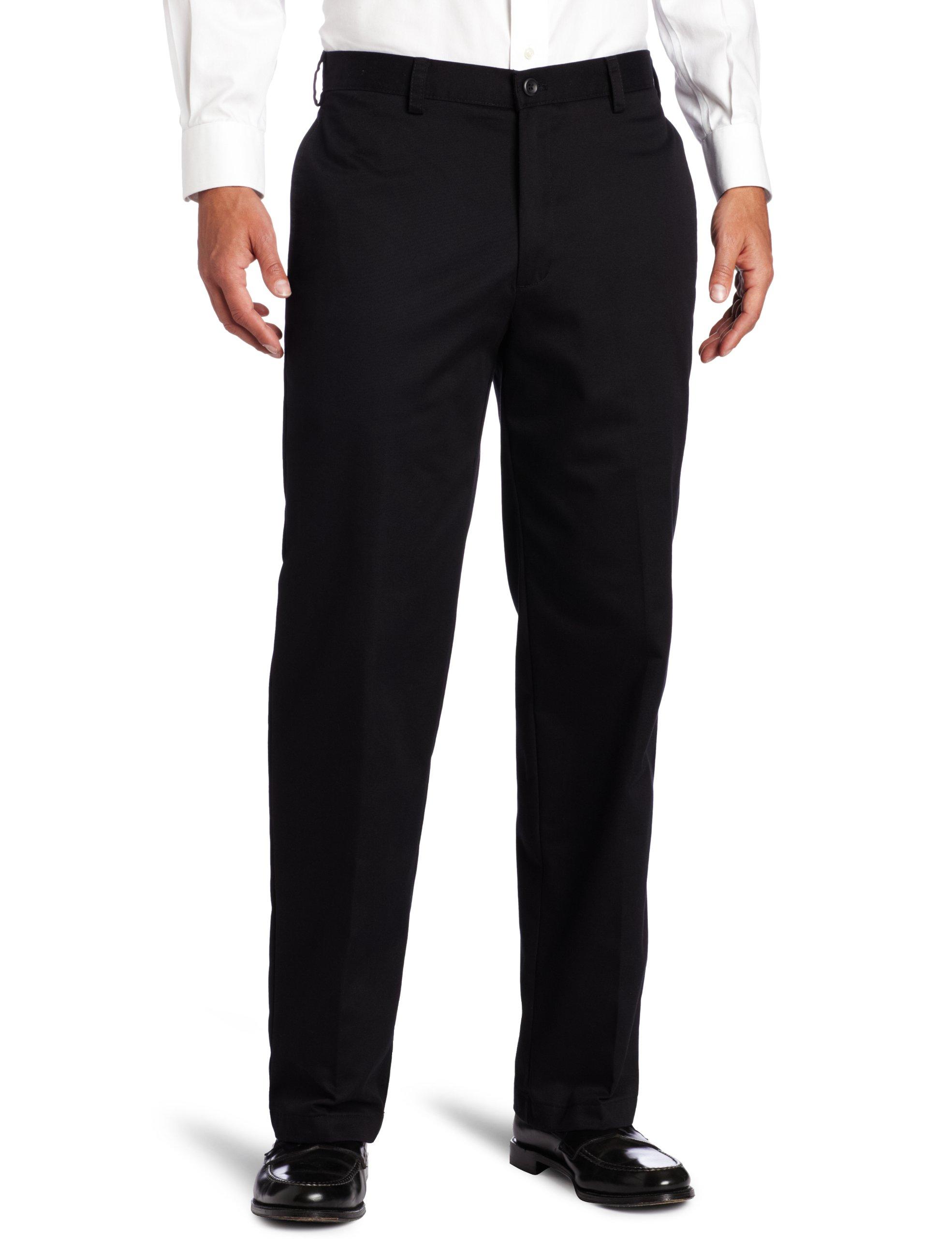 IZOD Men's American Chino Flat Front Pant, Black, 32W x 32L