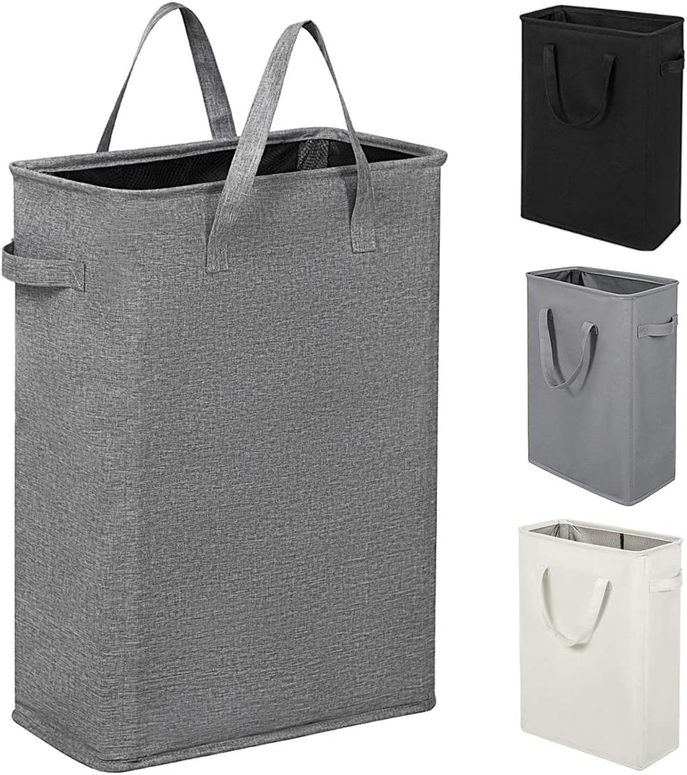 ZERO JET LAG 45L Slim Laundry Hamper with Handles Thin Laundry Bin Collapsible Dirty Clothes Basket Narrow Laundry Bag Foldable Dirty Hamper (Dark Grey)