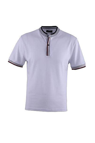 0115Voray Ga Polo Hombre algodón Granito Cuello Mao Vivo Contraste ...