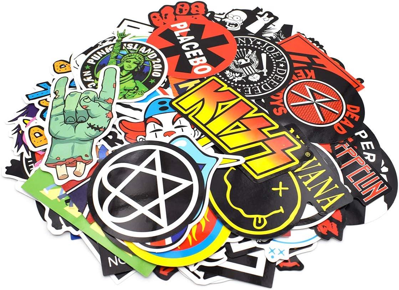 Impermeable Bicicleta makstore 100 Pegatinas de m/úsica Rock and Roll Band para Ordenador port/átil Graffiti Coche Moto patching