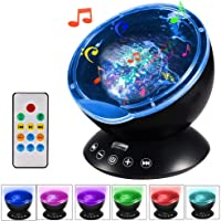 Amazer Ocean Wave Projector 12 LED Remote Control Undersea Projector Lamp,7 Color Changing Music Player Night Light Projector for Kids Adults Bedroom Living Room Decoration