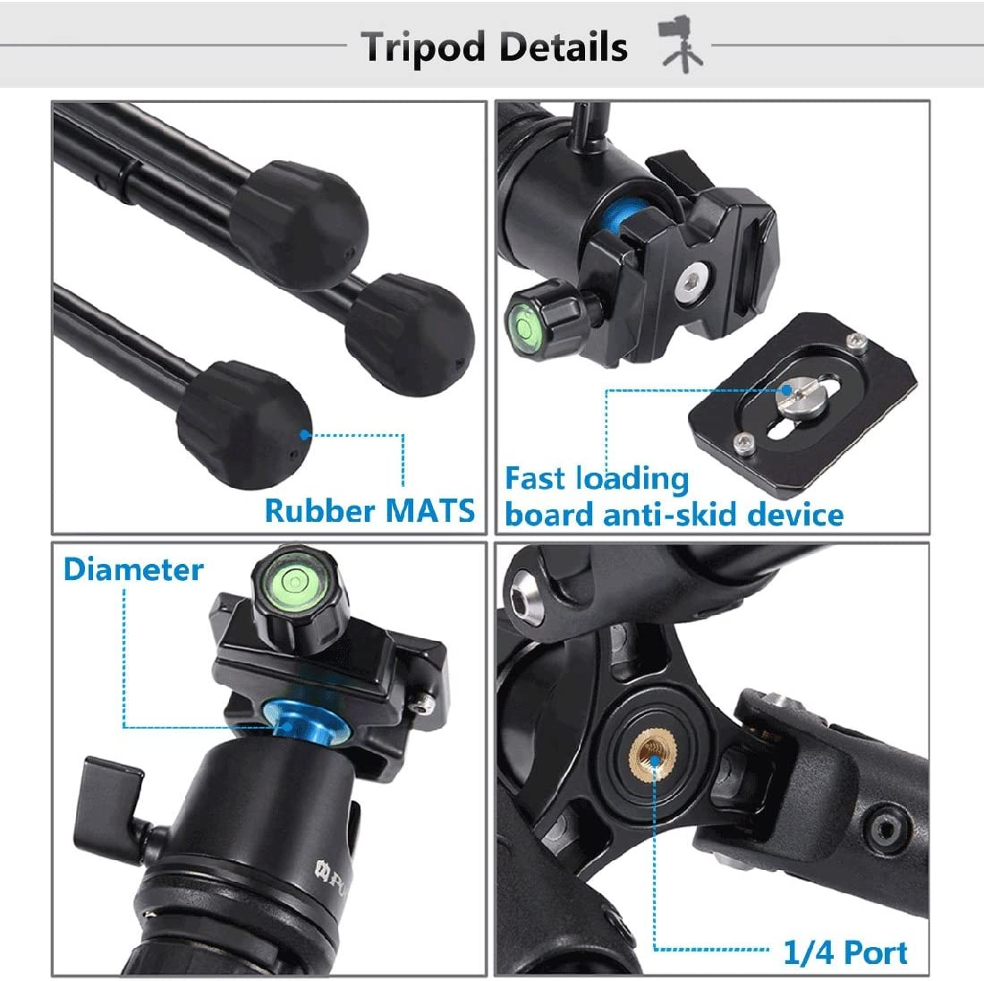 Load Max Adjustable Height 3Kg 24.5-57Cm RYSD-MT Pocket Mini Photos Magnesium Alloy Tripod Mount with 360 Degree Ball Head for Digital Camera