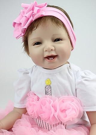 e155f1f99b435 Reborn Baby Doll poupon Réincarné Bébé Poupée Souple En Silicone 22 Pouces  55Cm Belle Lifelike Fille