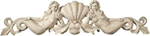 Design Toscano NG306790 Mermaid Pediment Overdoor Wall Decor Sculpture, 39 Inch, Polyresin, Ancient Ivory