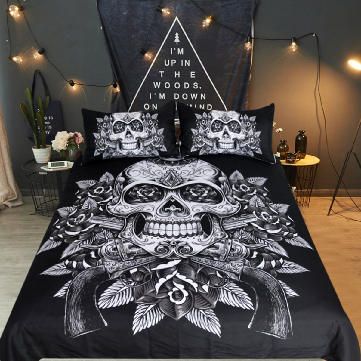 Sleepwish Sugar Skull Bedding Guns and Roses Funny Skull Duvet Cover Set 3 Piece Skeleton Flower Goth Bed Cover (Queen, Black and White)
