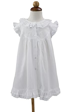 a4ad3a1e5f3 Amazon.com  stylesilove Handmade Girls  Embroidered Lace Vintage Inspired  Cotton White Night Dress - Age 2-12  Clothing