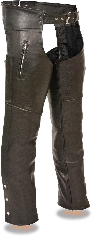Black, 3X- Large Milwaukee Leather SH1190-3X-BLACK /Zippered Thigh Pocket Chaps