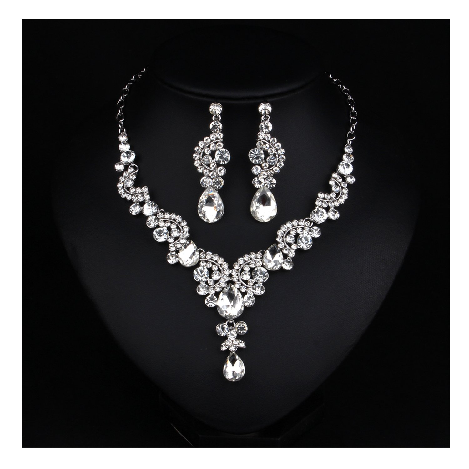 Hamer Costume Jewelry Fashion Crystal Choker Pendant Statement Charm Necklace and Earrings LTD N703