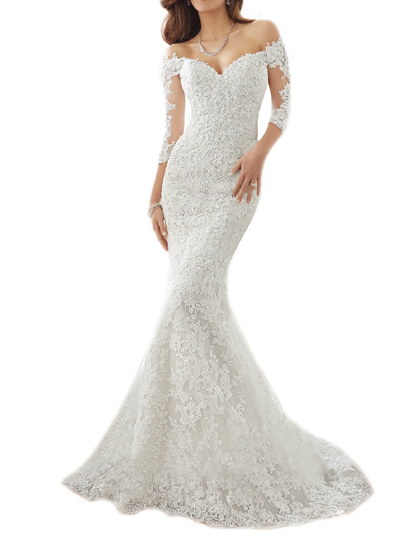 Udresses Off Shoulder Lace Mermaid Wedding Dresses 1/2 Sleeve Bridal Gown UWD3 White 14 by Udresses