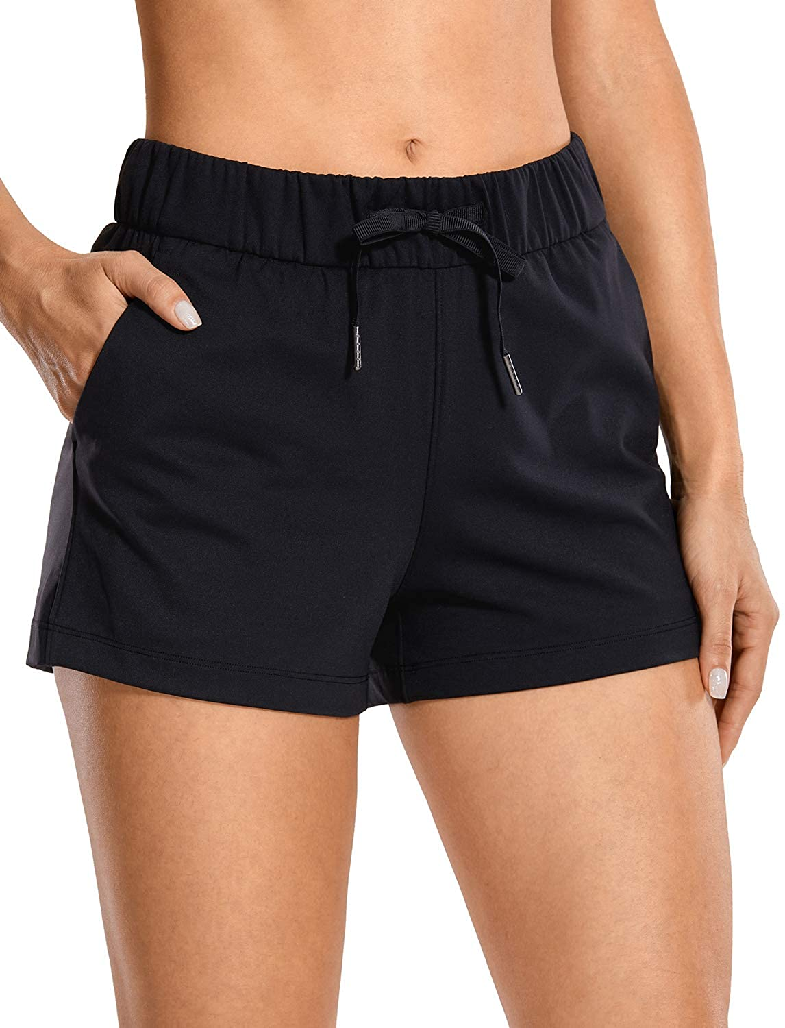 CRZ YOGA Women's Stretch Lounge Travel Shorts Elastic Waist Comfy Workout Shorts with Pockets -2.5 Inches at  Women's Clothing store