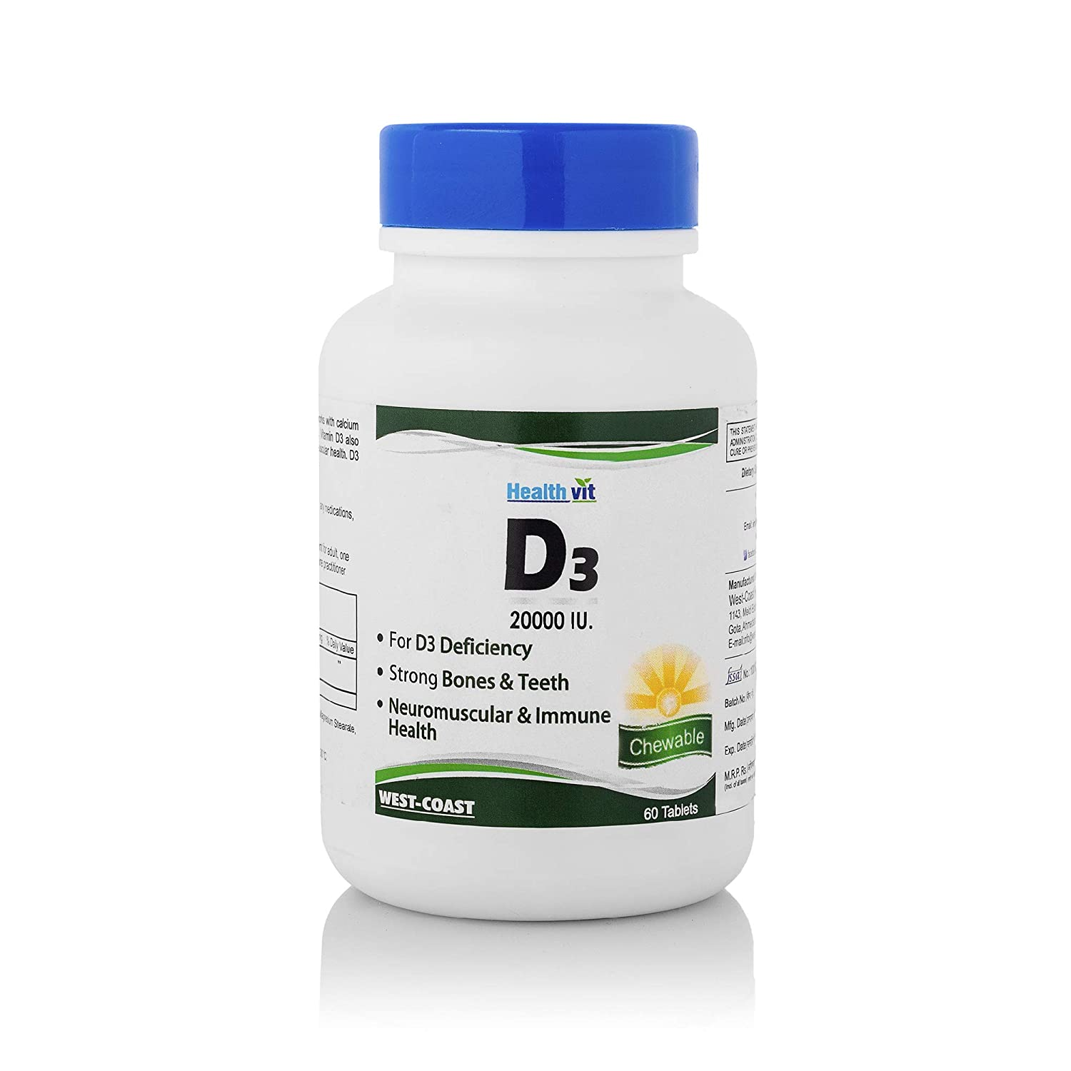 Buy Healthvit Vitamin D3 20000 IU Maximum Strength - 60 Tablets Online at  Low Prices in India - Amazon.in