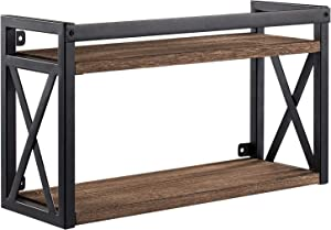 2-Tier Floating Shelves with Black Metal, Industrial Floating Wall Shelves, Wall-Mounted Wood Book and Display Shelving for Bedroom, Bathroom, Living Room, Kitchen