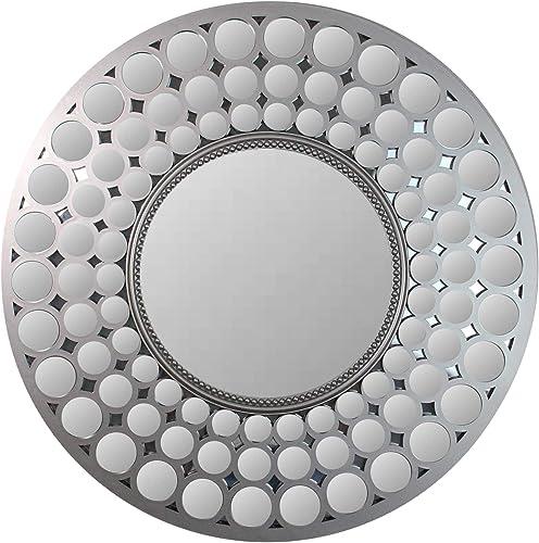 Northlight 24.75 Cascading Orbs Silver Framed Round Wall Mirror