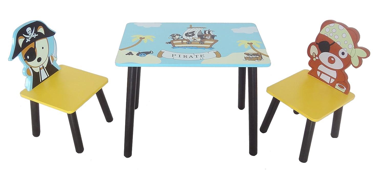 Kiddi Style les enfants Bois Ensemble table et chaises motif pirate BEHG4 PRF1T2CS-Blue