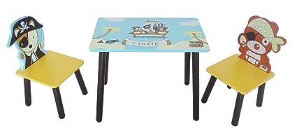 Kiddi Style Piraten Kindersitzgruppe – 1x Kindertisch & 2x Kinderstuhl – stylische Sitzgruppe & Kindersitzgruppe mit Tisch &