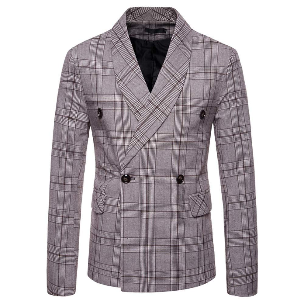 Mens Double Breasted Suit Men Checked Double-Breasted Suit Jacket Button Lattice Coat Classic Blazer