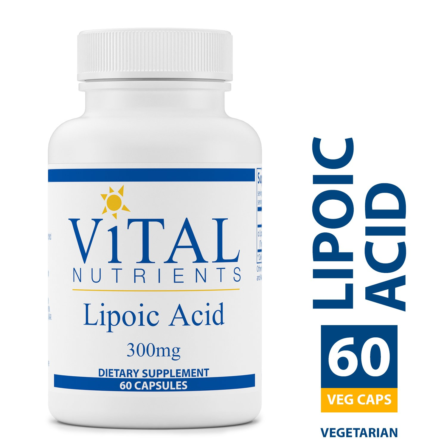 Vital Nutrients - Lipoic Acid 300 mg - Multi-Purpose Nutrient and Powerful Antioxidant - Blood Sugar Support - 60 Vegetarian Capsules per Bottle