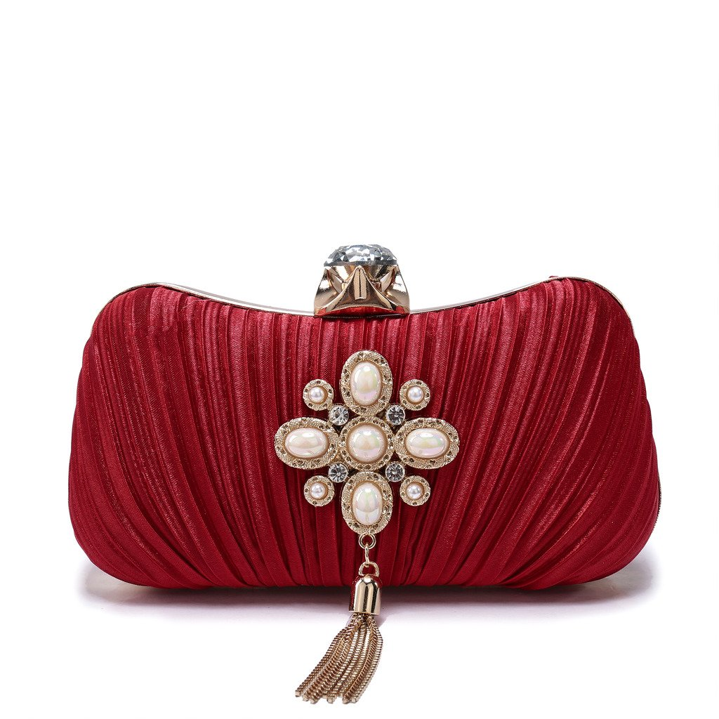 BIG-SALE- Evening Handbags Flower Evening Clutch Pearl Beaded Evening Handbag New Year Gifts For Cocktail Wedding (24D Red)