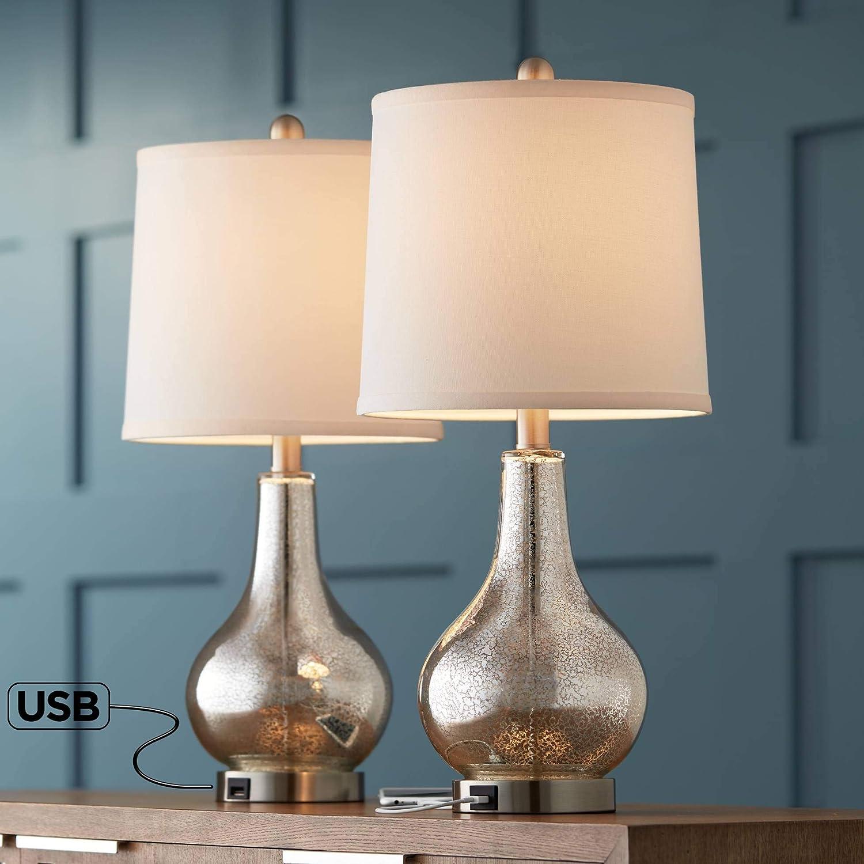 Ledger Mercury Glass Accent USB Table Lamp Set of 2