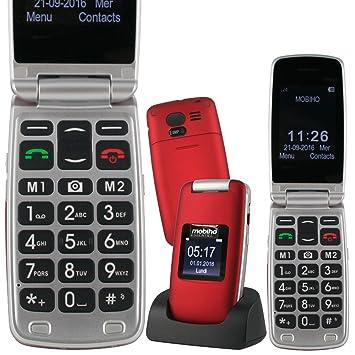Mobiho Essentiel Le Clap Luxe 3 Rouge Un Téléphone Senior Clapet Très Complet Avec Mms Compatible Pour Des Problèmes Auditifs Et De Vision Debloque