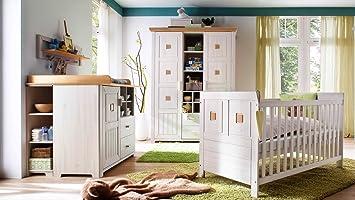 Babyzimmer Einrichtung Komplettset Malmo 7 Teilig Kiefer Massiv Weiss