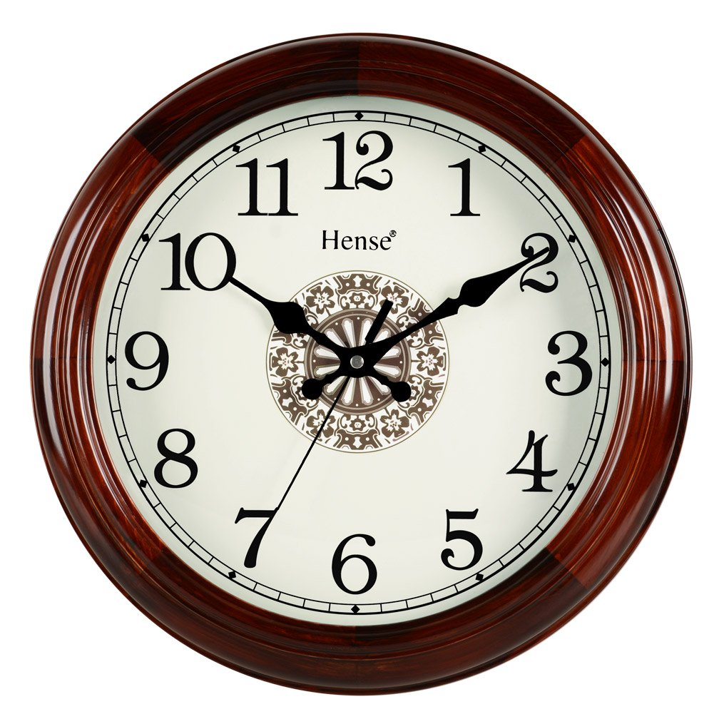 Hense 14-inch Natural Solid Pine Wood Round Clocks Non-ticking Mute Silent Quartz Movement Clock Classic Chinese Totem Decorative Wall Clock HW15 (14''-HW15 Brown)