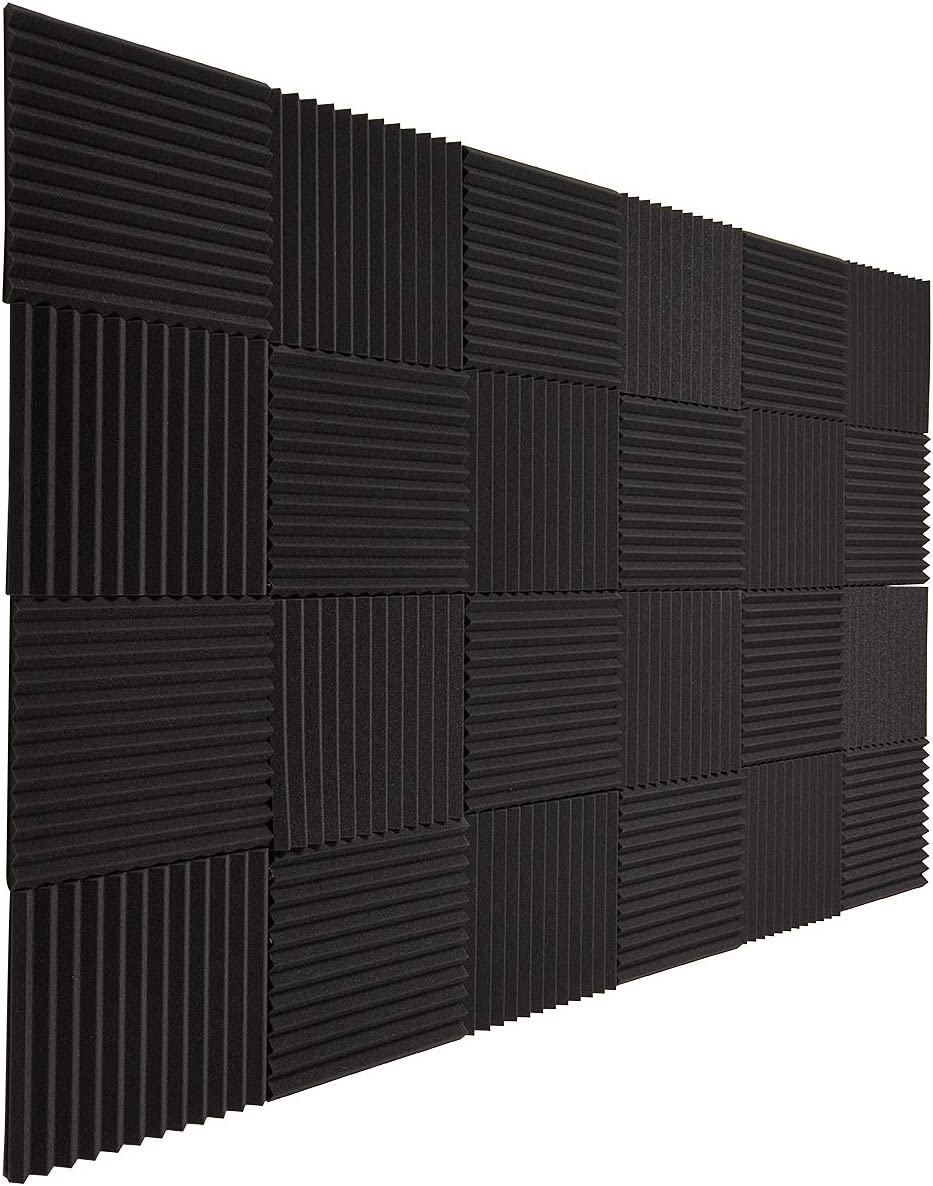 "Acoustic Panels Foam Fireproof Sound Absorbing Panels Studio Foam Wedges for Walls 24Pack, 1"" X 12"" X 12"", Black"
