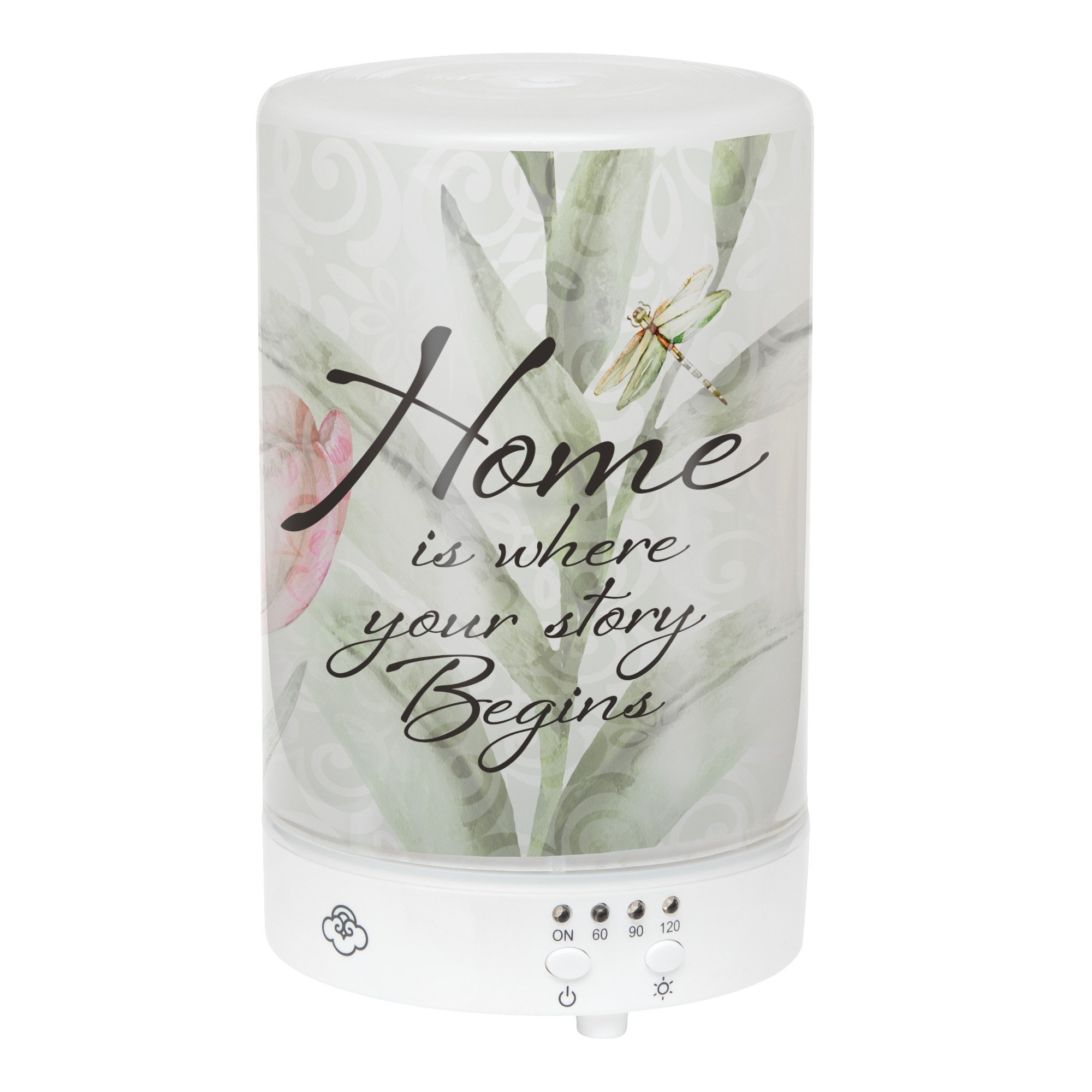 Elanze Designs Home Where Story Begins Dragonfly Floral Frosted Glass 8 Color LED Light Essential Oil Diffuser by Elanze Designs