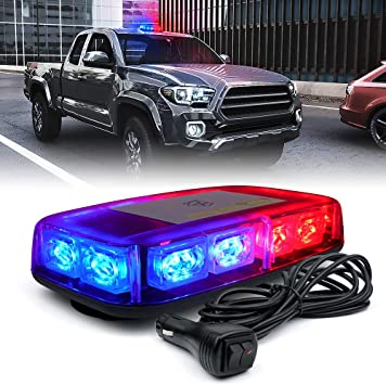 Red//Blue MAGNETIC 240 LED Mini Light Bar Roof Top Emergency Warning Hazard Safety Flashing Strobe Dual Rapid Switch Longer 10FT Cable Car Truck Vehicle