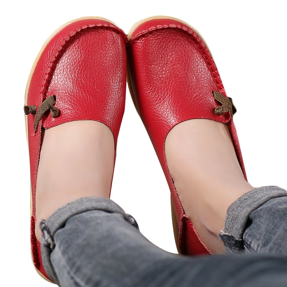 Lucksender Womens Soft Leather Comfort Driving Loafers Shoes 9B(M) US Red