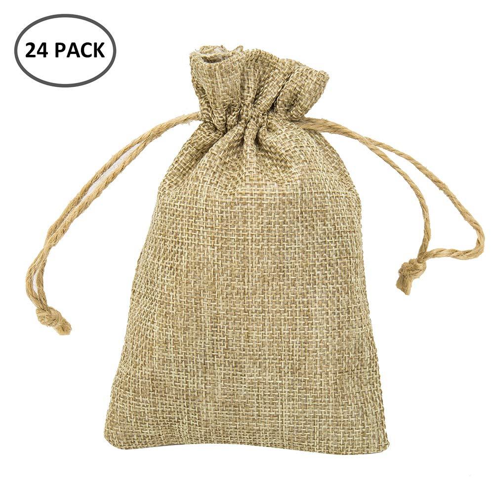 Enjoygoeu Säckchen mit Kordelzug 24er Jutesäckchen Set für Kindergeburtstag Hochzeit Party DIY Handwerk Adventskalender zum befüllen Natur Geschenksäckchen Geschenkbeutel 13x9,5cm