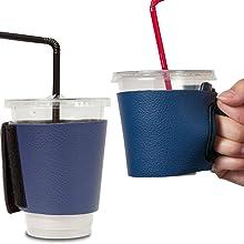 Objectiboo!(オブジェクティブー)通せるカップスリーブ レザー ネイビー(保温性・断熱性のある取手付きコーヒースリーブ・コンビニコーヒーカップなどに対応・アイスコーヒーにも使用可)