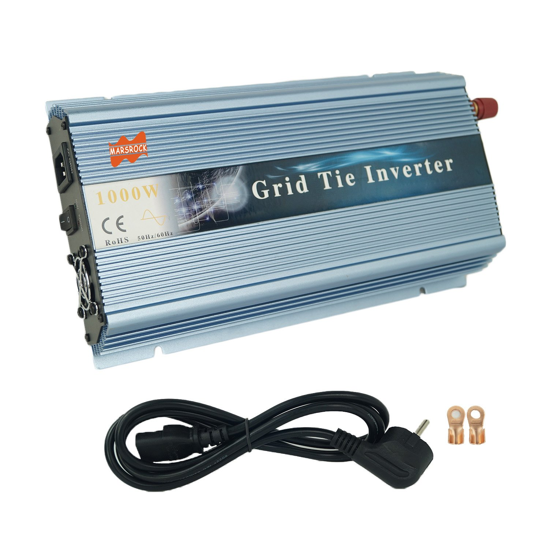 MarsRock 1000W 12V Wind 18V Grid Tie Pure Sine Wave MPPT Solar Power Inverter DC 10.5V-30V AC 110V 120V Workable for USA Selectable Blue Gold Silver Colors (110V Blue)