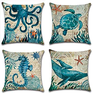 """Unibedding Beach Throw Pillow Cover Case, Nautical Ocean Theme Decorative Cotton Linen Square Cushion Case for Outdoor Patio Couch Chair, 4 Pack 18"""" X 18"""" Double Sides"""