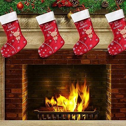 2 unids Navidad Ciervos Calcetines Decoraciones de Navidad Pequeñas Bolsas de Regalo Bolsas de Dulces Decoraciones