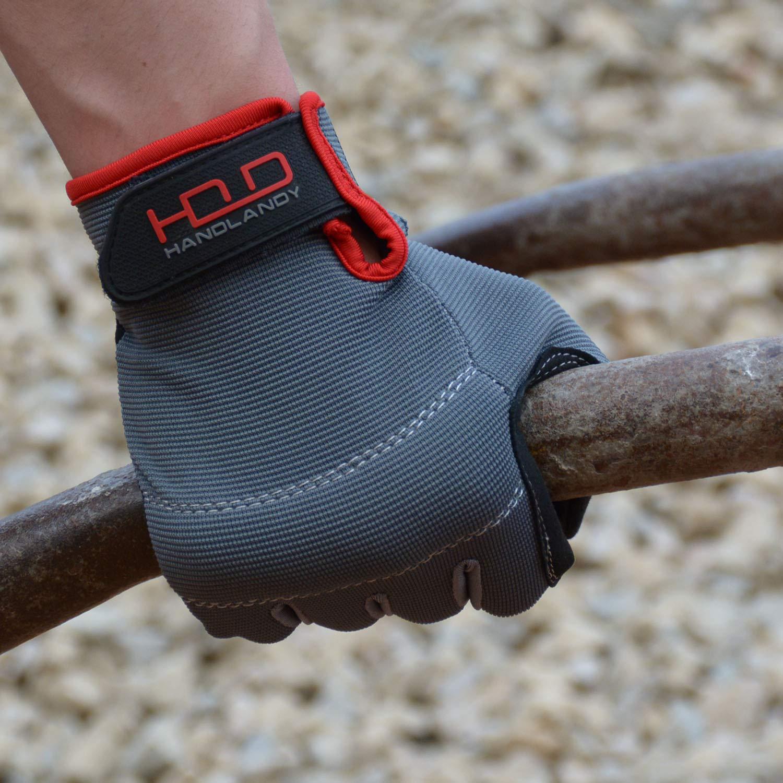 guanti da lavoro da uomo touchscreen nero guanti da lavoro in pelle sintetica dorso in Spandex flessibile e traspirante nocche e palmo imbottiti Handlandy