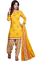 Ishin Women's Synthetic Dress Material (Ddrrjgr-Rmzm9116_Yellow_Free Size)