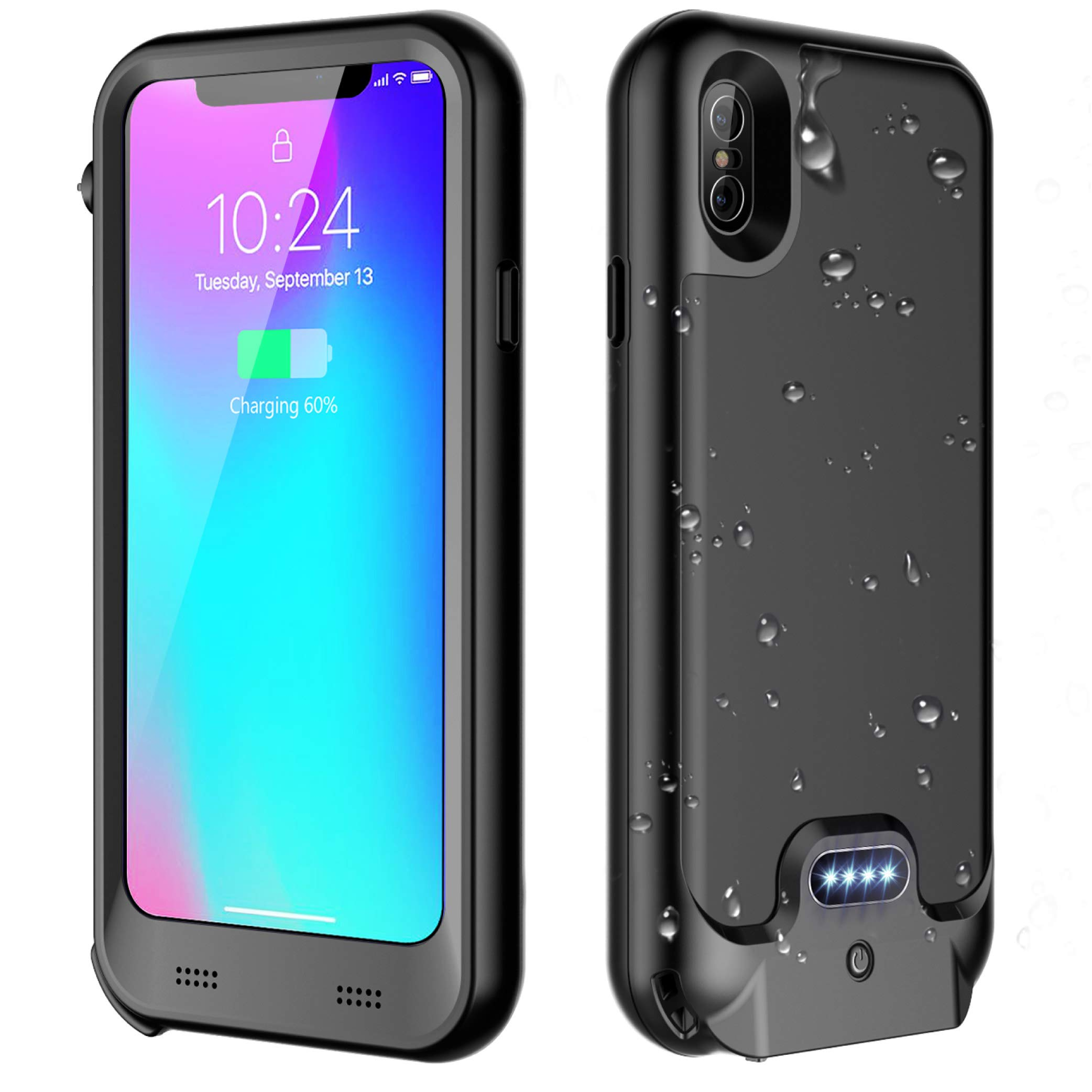 iPhone X/XS Waterproof Battery Case Qi Wireless Charging, ATOP 3600mAh Slim Portable Charger Case Rechargeable Extended Battery Protective Charging Case Compatible with iPhone X/XS(5.8 Inch)