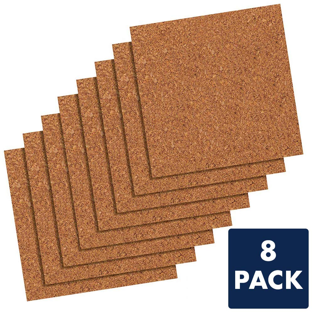 Quartet Cork Tiles, Cork Board, 12 inches x 12 inches, Corkboard, Wall Bulletin Boards, Natural, 8 Pack (108)