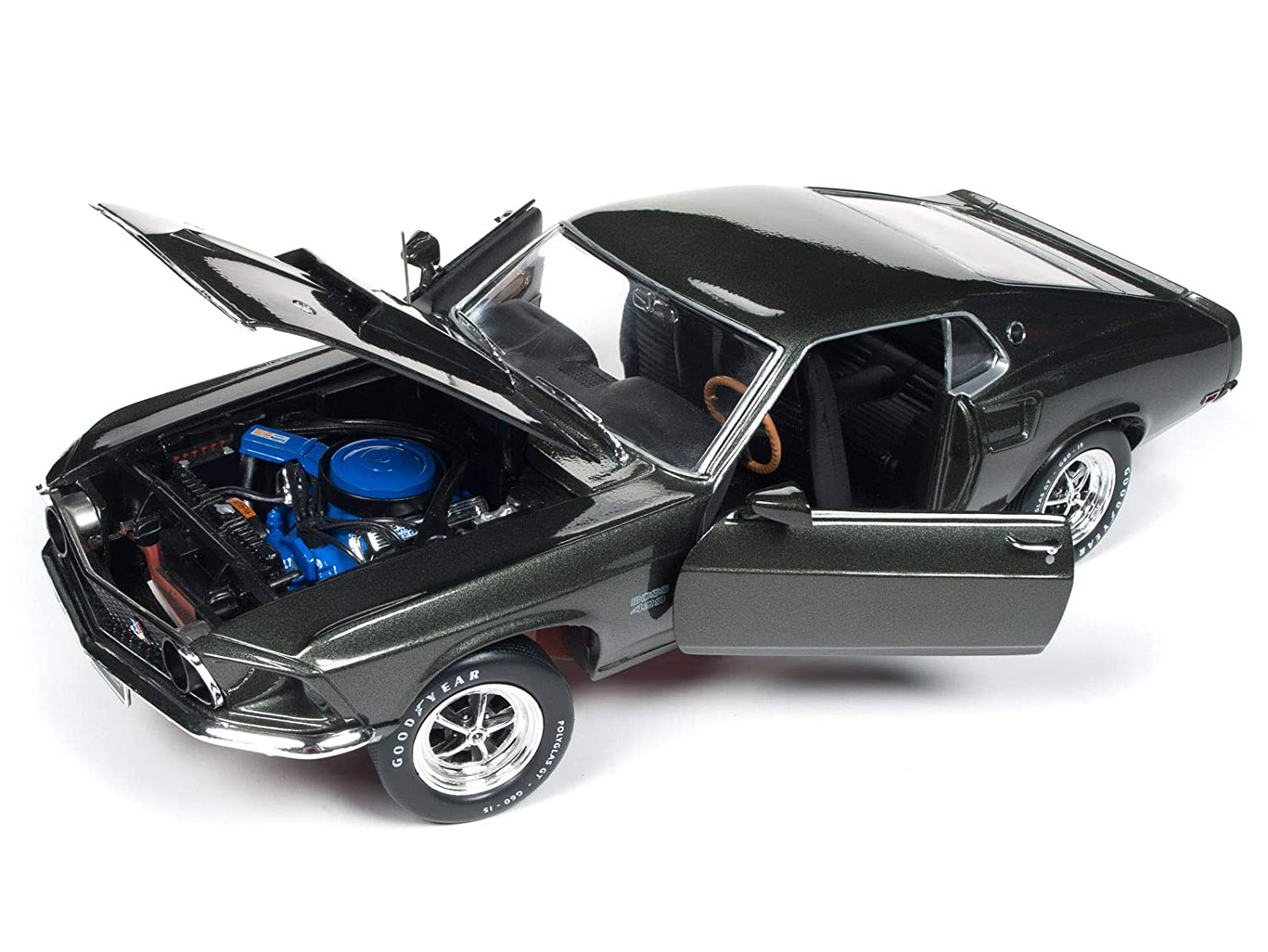 1969 ford mustang boss 429 black jade muscle car corvette nationals mcacn limited edition to 1002 pieces worldwide 1 18 diecast model car by autoworld