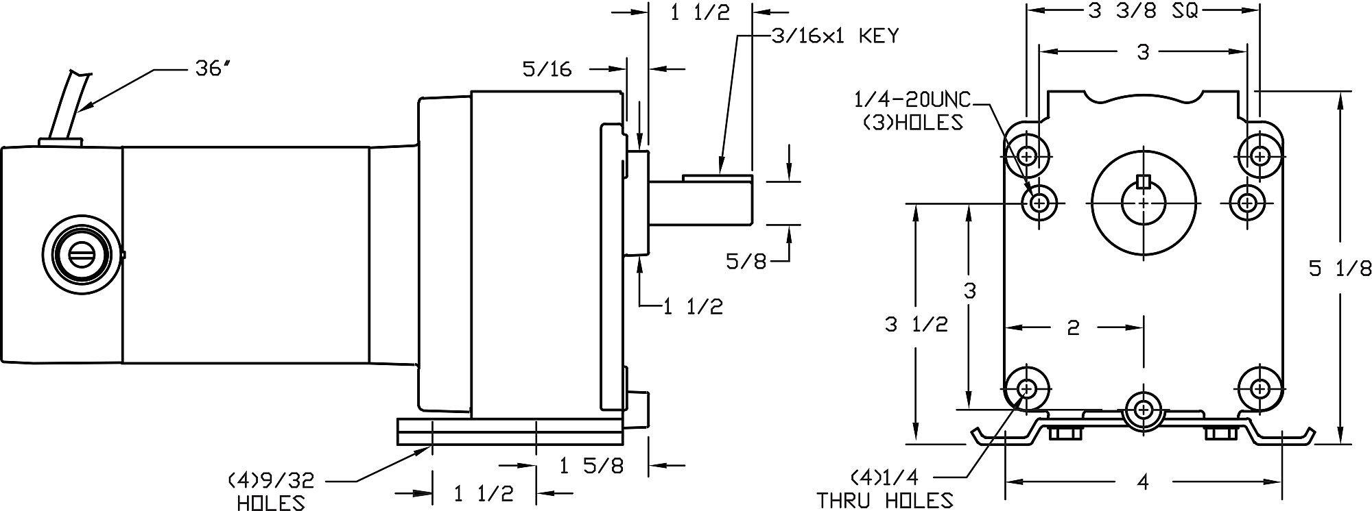 DC Gearmotor, 170 rpm, 90V, TENV