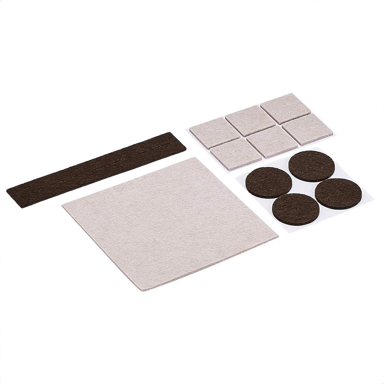 166/unidades colores beige y marr/ón Almohadillas de fieltro para muebles con topes de goma reductores de ruido Basics
