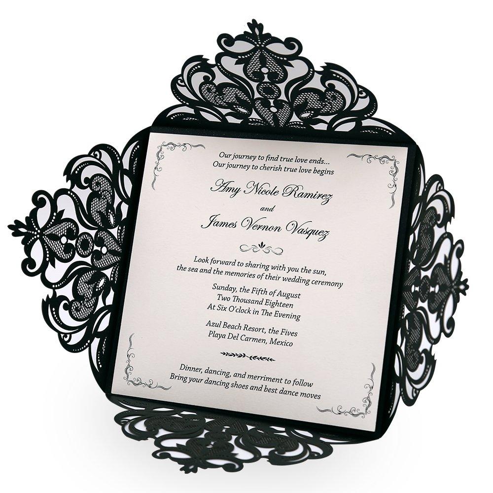 Doris Home wedding invitations wedding invites invitations cards wedding invitations kit Square Black Laser-cut Lace Flower Pattern Wedding Invitations Cards,50pcs,CW519_BL